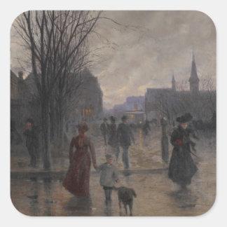 Rainy Evening on Hennepin Avenue, c.1902 Square Sticker