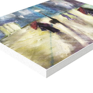 RAINY EVENING , - watercolor, wrapped canvas print