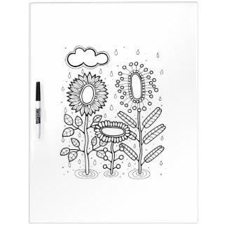 Rainy Flower Garden Adult Coloring Dry-Erase Whiteboard
