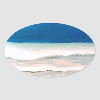Rainy Morning Beach Surf Ocean Waves Painting Oval Stickers