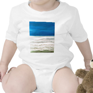 Rainy Morning Beach Surf Ocean Waves Painting Baby Bodysuits