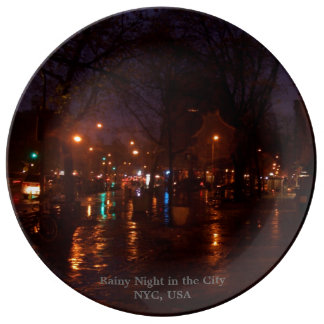 Rainy Night in the City NYC Collectors Plates