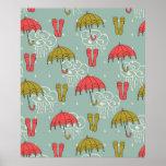 Rainy Season Umbrella Design Poster