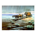 RAINY STAGECOACH by SHARON SHARPE Postcard