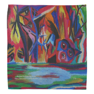 Rainy tears derive from human sins oil pastel bandana