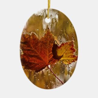 Rainy Window Maple Leaves Christmas Ornament