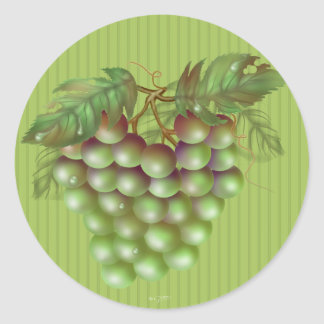 RAISAIN GRAPES  ROUND Large, 3 inch (sheet of 6) Classic Round Sticker