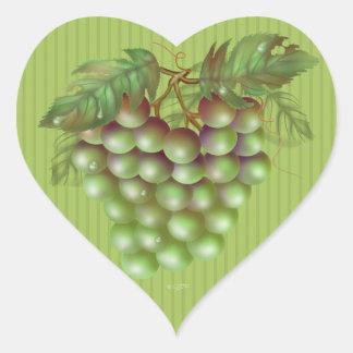 RAISAIN GRAPES  Small, 1½ inch (sheet of 20) Matte Heart Sticker