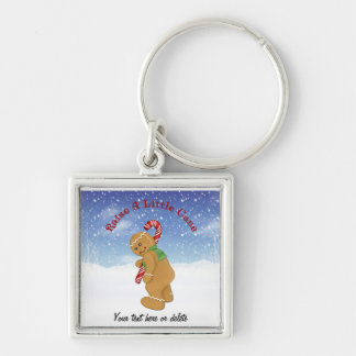 Raise A Little Cane Humor Silver-Colored Square Key Ring