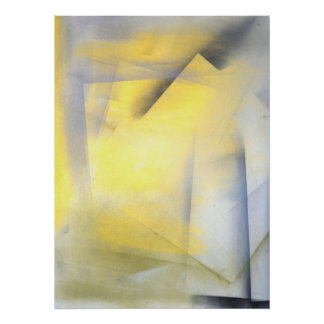 'Raise the Bar' Grey and Yellow Abstract Art Print
