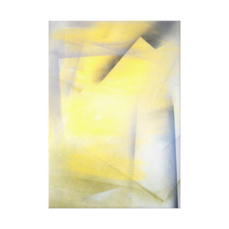 'Raise the Bar' Grey and Yellow Abstract Art Stretched Canvas Print