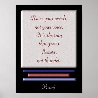 Raise your words -- art print - Rumi quote