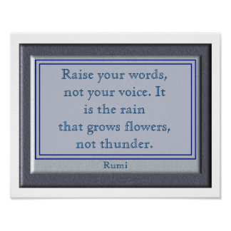Raise Your Words- Rumi quote art poster