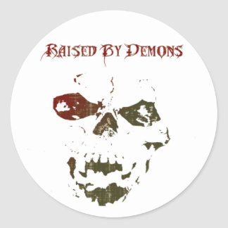 Raised By Demons skull logo Classic Round Sticker