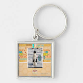 Raised by Penguins Silver-Colored Square Key Ring