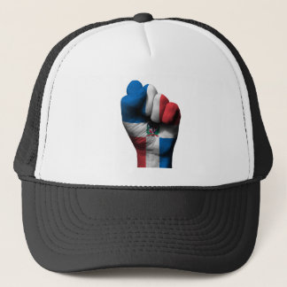 Raised Clenched Fist with Dominican Flag Trucker Hat