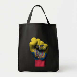 Raised Clenched Fist with Ecuadorian Flag Grocery Tote Bag