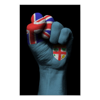 Raised Clenched Fist with Fiji Flag Poster