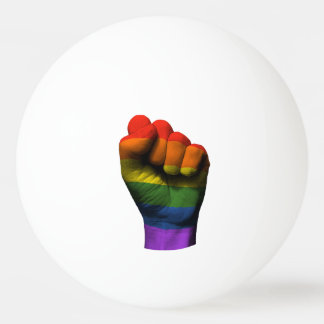 Raised Clenched Fist with Gay Pride Rainbow Flag Ping Pong Ball