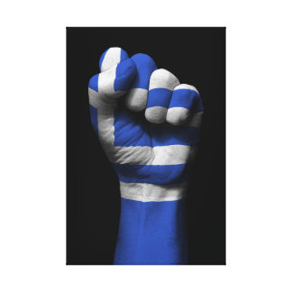 Raised Clenched Fist with Greek Flag Canvas Print