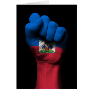 Raised Clenched Fist with Haitian Flag Greeting Card
