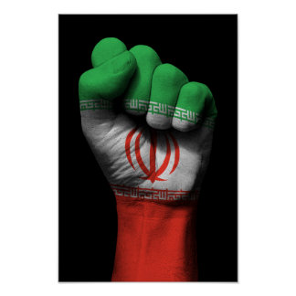 Raised Clenched Fist with Iranian Flag Poster