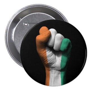 Raised Clenched Fist with Ivory Coast Flag 7.5 Cm Round Badge