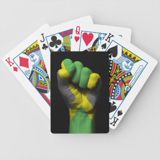 Raised Clenched Fist with Jamaican Flag Poker Deck