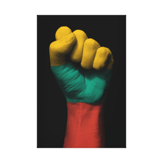 Raised Clenched Fist with Lithuanian Flag Canvas Print