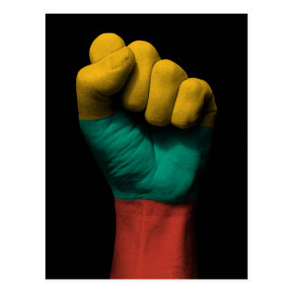 Raised Clenched Fist with Lithuanian Flag Postcard