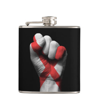 Raised Clenched Fist with Northern Ireland Flag Hip Flask