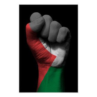 Raised Clenched Fist with Palestinian Flag Poster