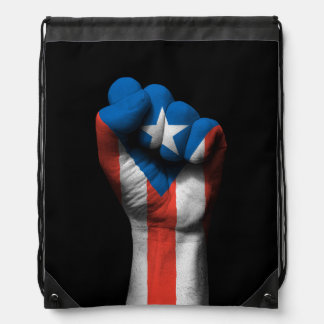 Raised Clenched Fist with Puerto Rican Flag Drawstring Bag