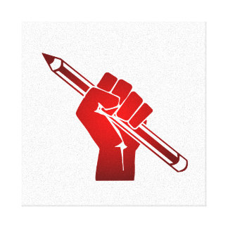 Raised Fist Holding a Pencil Gallery Wrap Canvas