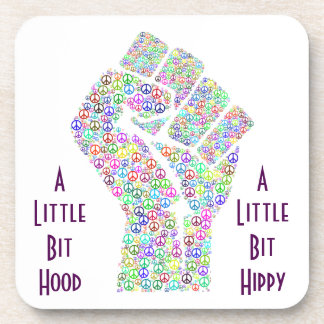 Raised fist of peace hippy style beverage coasters