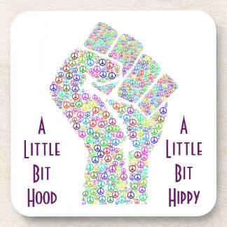 Raised fist of peace hippy style beverage coasters