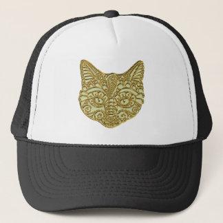 Raised Gold Golden Egyptian Cat Kitty Metal Hat