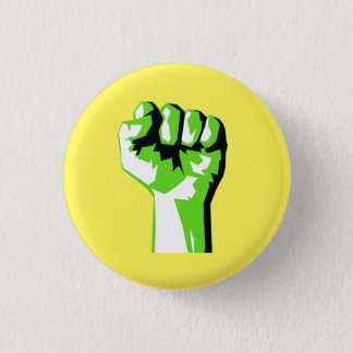 Raised Green Fist Fight Climate Change 3 Cm Round Badge