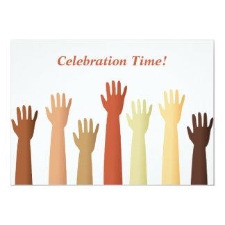 Raised Hands, Celebration Time! 13 Cm X 18 Cm Invitation Card