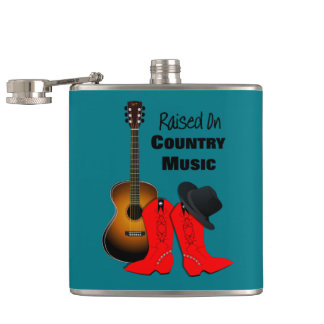 Raised on Country Music Cool Cowgirl Themed Flask