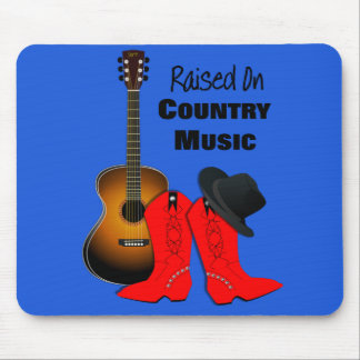 Raised on Country Music Cool Cowgirl Themed Mouse Pad