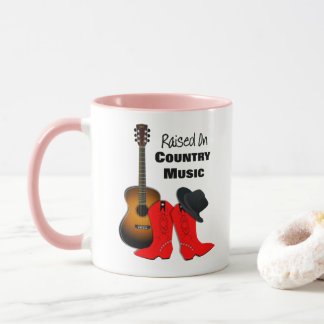 Raised on Country Music Cool Cowgirl Themed Mug