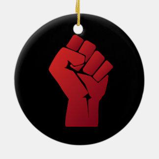 Raised Red Gradient Fist Christmas Ornament