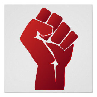 Raised Red Gradient Fist Poster