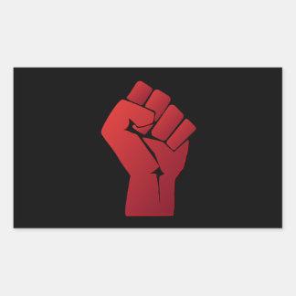 Raised Red Gradient Fist Rectangular Sticker