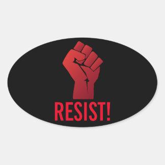 Raised Red Gradient Fist Resist! Oval Sticker