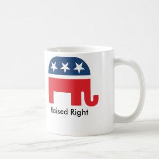 Raised Right Funny Republican Coffee Mug
