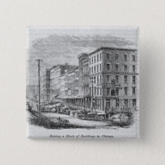 Raising a block of buildings in Chicago 15 Cm Square Badge