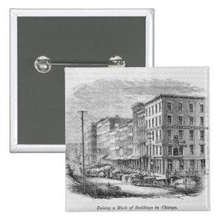 Raising a block of buildings in Chicago 15 Cm Square Badge