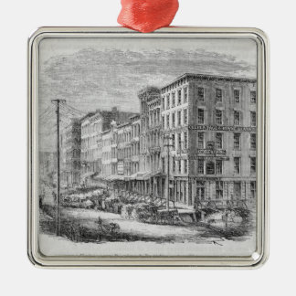 Raising a block of buildings in Chicago Christmas Ornament